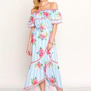 Super cute resort 2 pc top & long skirt set